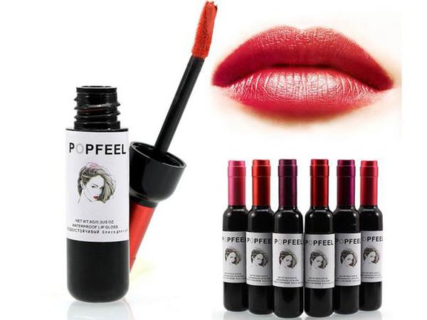 Popfeel Sexy Cosmetics Red Wine Bottle Waterproof Lip Gloss Nude Liquid Lips Matte Lipstick Makeup Baton