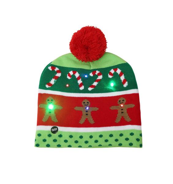 Sombrero de navidad Beanie Adultos Niños Sombreros de invierno Intermitentes Gorros calientes