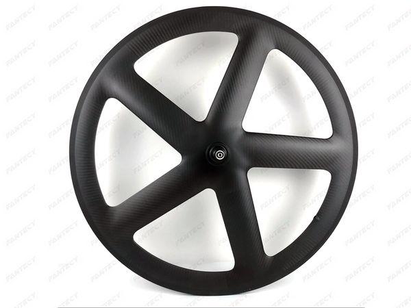 700C Full Carbon 5 Spokes Clincher/Tubular Wheels Five-spoke carbon wheelset for Track/ Road Bike UD/3K matte finish