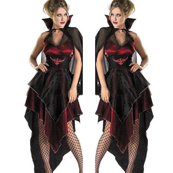2017 Halloween Zombie Maskerade Kostüme Bösen Vampir Königin Cosplay Schwarz Gaze Unregelmäßigen Geisterbraut Kleid Vampire Bat Kostüm