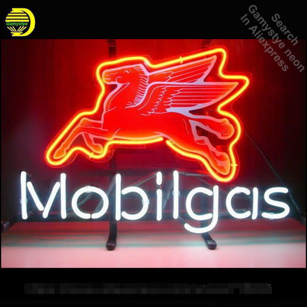 Неоновая вывеска для Mobilgas бензин летающий Пегас неоновая лампа знак ручной работы стеклянные трубки старинные украсить окна отеля пивной бар паб