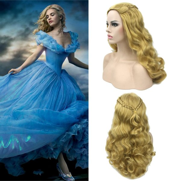 Long Wave Anime Wigs Cosplay for Cinderella and Sleeping Beauty Aurora Princess Vestidos Costume in Halloween Carnival Party