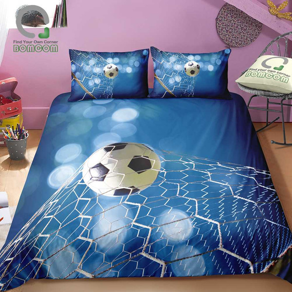 Grosshandel Bomcom 3d Digitaldruck Fussball Bettwasche Set Fussball In Tor Net Bettbezug Sets 100 Mikrofaser Dunkelblau Von Industrial 109 72 Auf