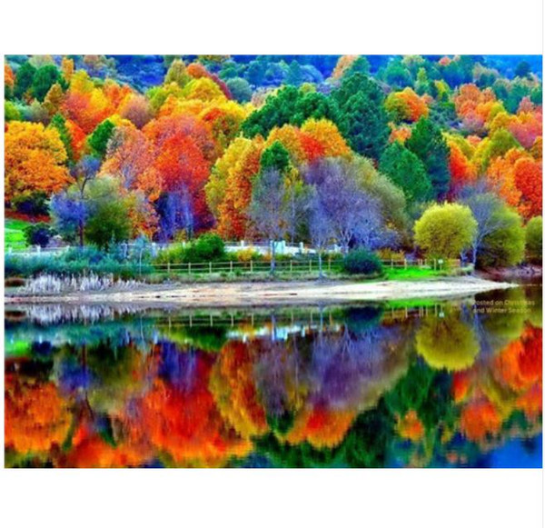 scenery diamond painting kit full drill view wall art gem painted on canvas rhinestone pasted trees hand painted picture artwork craft gift