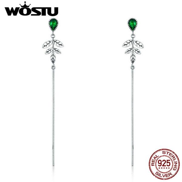 Оптовая горячая продажа настоящее стерлингового серебра 925 листья дерева, зеленый CZ серьги для женщин мода марка ювелирных изделий подарок FIE333