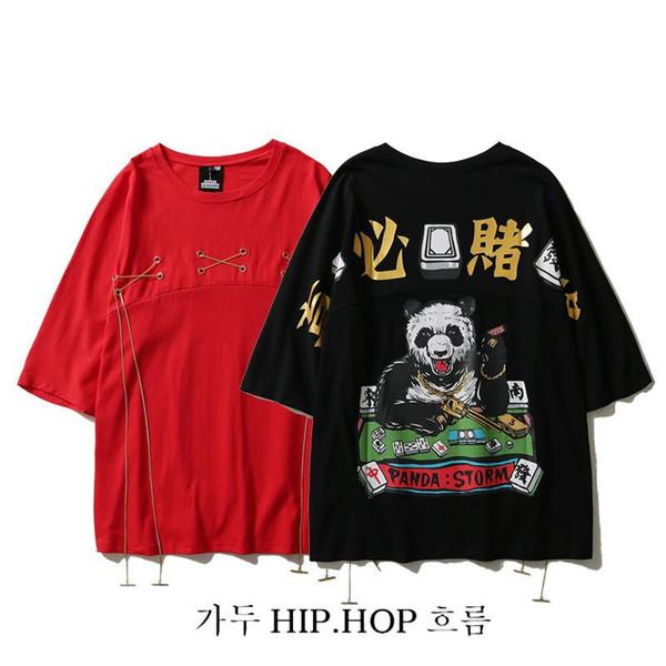 Panda chino Impresión de manga corta suelta de algodón cuello redondo Camisetas Ocio para hombres y mujeres ocio ropa de calle