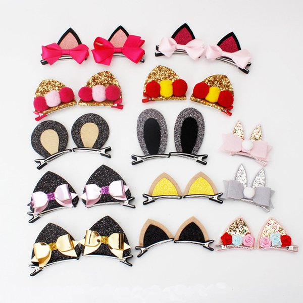 2pcs New Double Cat Ears Clip With Sequins Ears Girls Hair Clips Cute Rabbit Shape Hairpins in Kids Hair Accessories