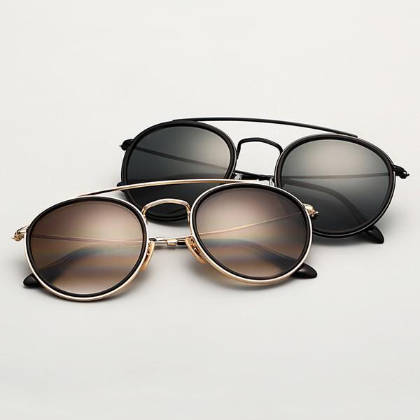 Bolo.ban 3647 rondes double pont lunettes de soleil femmes 51mm verre lentille miroir noir lunettes de soleil rondes oculos de sol Gafas UV400