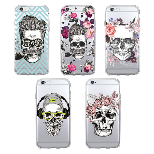 TOMOCOMO Cool Suger Skull Vintage Floral Pattern Soft TPU Phone Case Fundas Coque Cover For iPhone 6 6P 7 7Plus 6 6S 8 8PLUS X