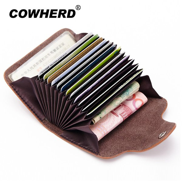 Hot sell! Genuine Cow Leather Women Men Card Holder Business 12 Card Slot Wallet Case Bag Unisex items high quality 5 Colors