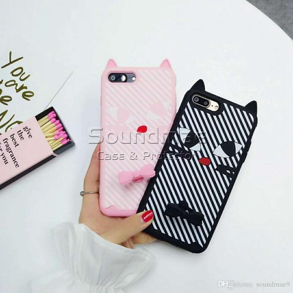 Silicone Cartoon Cat Phone Case Soft Silicon Cute Black Beard Tabby Striped Cat Ear Ring Case For iphone X 8 7 6 6s plus Opp Bag
