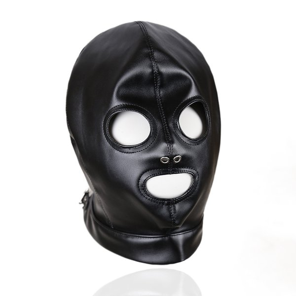 Faux Leather Head Face Mask Sex Hood Party Play BDSM Bondage Gear Visable Breathable Slave Adult Toys For Women GN312400011