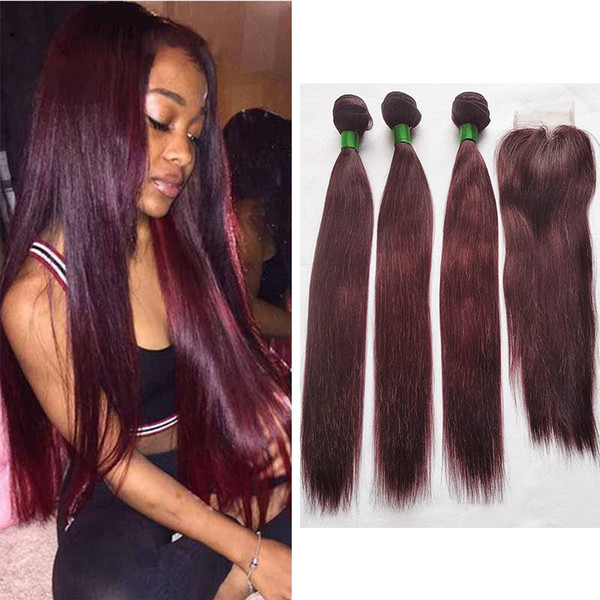 99J Colored Hair Bundles with Closure Brazilian Dark Wine Red Straight Human Hair Weave 3 Bundles with 4X4 Lace Closure Middle Part