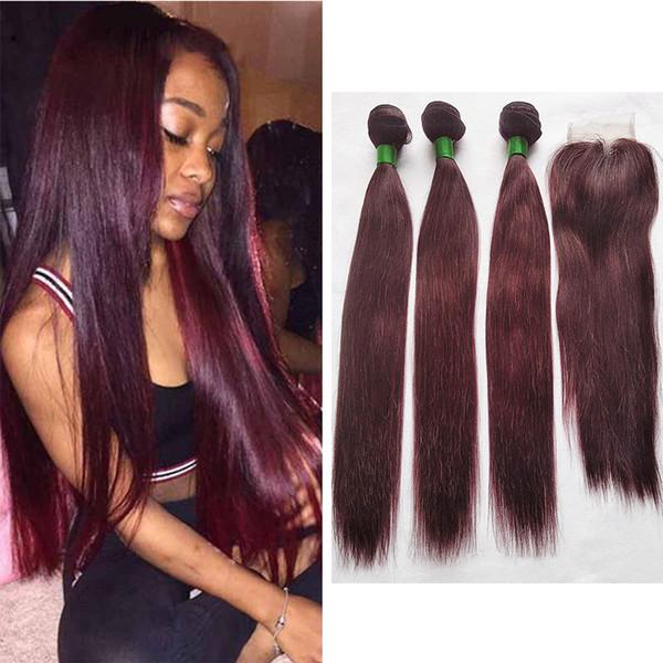 Kapatma ile 99J Renkli Saç Demetleri Brezilyalı Koyu Şarap Kırmızı Düz Insan Saçı Örgü 3 Demetleri ile 4X4 Dantel Kapatma Orta Kısmı