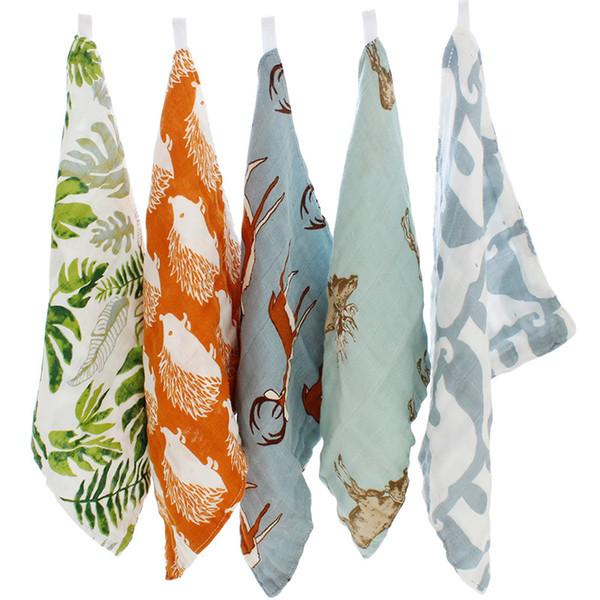 Mix Color Wholesale 10 Pcs 27x27cm 4 Layers Cotton Bamboo Material Children Baby Soft Bath Cartoon Towels