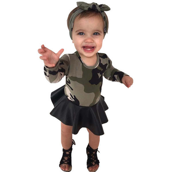 Girls Dress Long Sleeve Camouflage Kids Dresses+Headband Girl Clothes Outfits Autumn Camouflage PU Stitching Children Costume