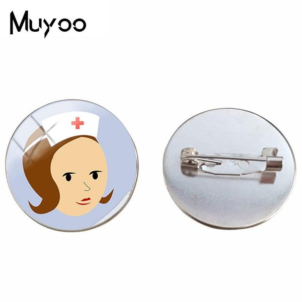 BR New Style Nurses Symbol Brooch Proud to be a Nurse Brooches Glass Round Pins Hand craft Photo Pin Silver Fashion Jewelry