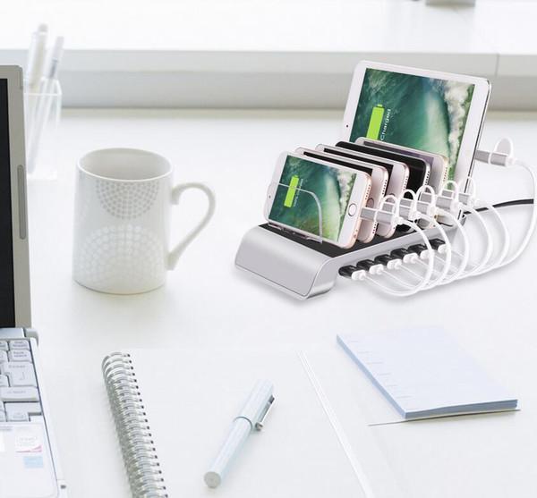 USB-Ladestation Dock mit Standplatz-Halter 6 Ports 2.4A Multi-Funktion USB-Ladegerät für Handy-Tablet-PC US EU AU Version