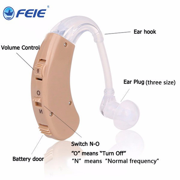 Free Shipping Hearing Aid Headphone BTE Deaf-aid Analog Hearing Aids Comfortable Small for Elderly Hearing Loss S-998