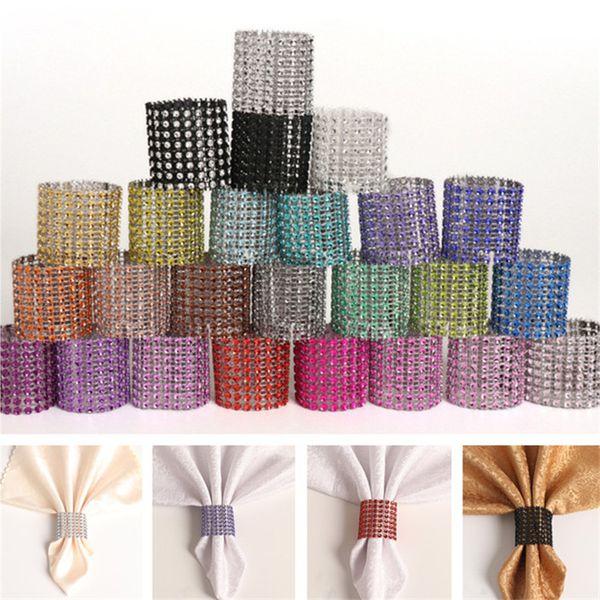25 rows diamond napkin rings plastic napkin buckle charm Mesh Diamond Wrap Serviette Holder hotel wedding Fashion Accessories 1000pcs T1C371