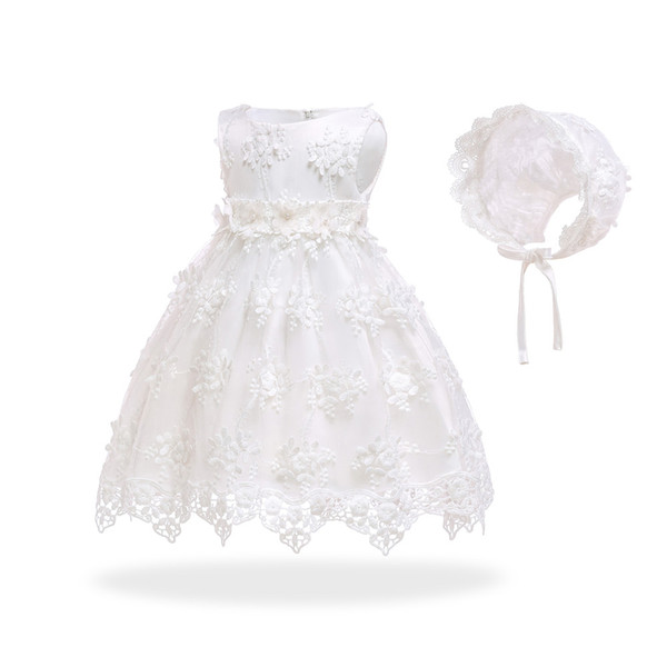 Free Shipping Cotton Lining Infant Dresses 2018 New Design Ivory Baby Dress For 1 Year Girl Birthday Toddler Party Gown With Hat