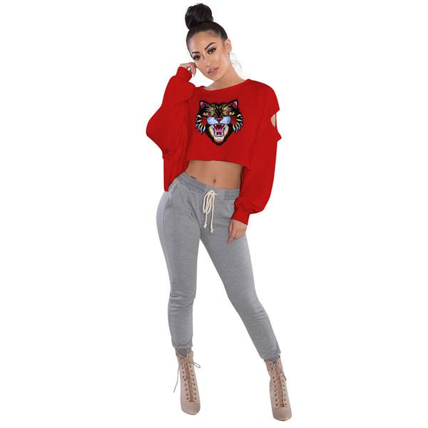 7 color de moda bordado tigre parche de manga larga sudaderas con capucha suéter ropa deportiva informal dama sudaderas pullover tops ropa de mujer