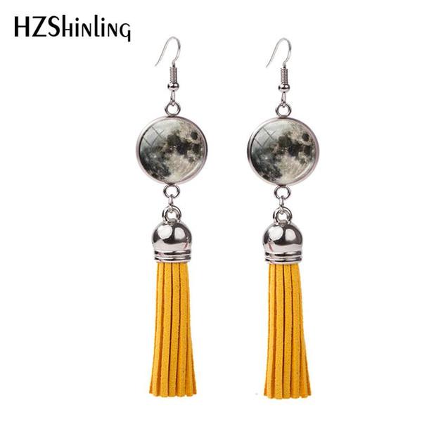 New Full Moon Tassel Earring Lunar Eclipse Fish Hook Earrings Hand Craft Boho Jewelry Art Photo Glass Dome Earbob Gifts Her NHE-0107