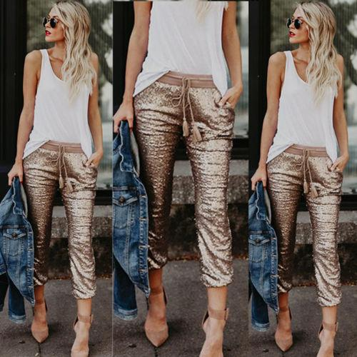 Women Casual Sequin Glitter Skinny Pants High Waist Stretch Slim Pencil Trousers Ladies Womens Female Pant Capris