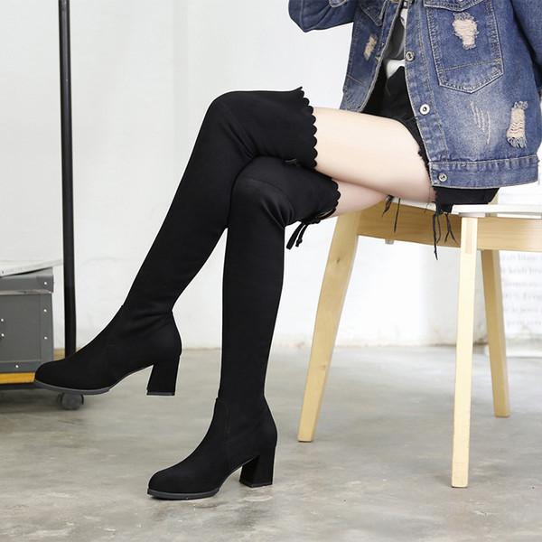 Hoher Absatz Ferse Stiefel für Frauen mit hohem Knie Schwarz Wildleder Damenschuhe