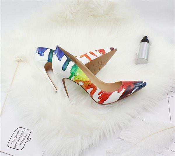 Modelos de explosão de moda sexy simples apontou pedicure graffiti era fina 12 cm de salto alto sapatos femininos