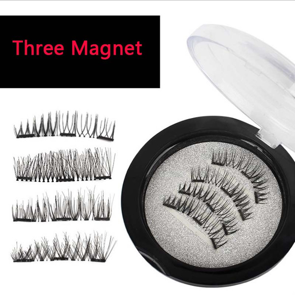 Delicate Package Easy to Wearn 3 Magnet False Eyelashes Three Magnet Full Strip Magnetic Lashes Soft Hair Reusable Fake Eye Lashes
