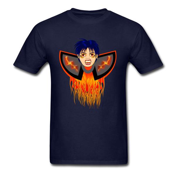 Vampire In Fire 2018 Hipster Man T Shirt Funny Character Boy Print Navy Blue T Shirt Custom Halloween Cotton Tops For Men
