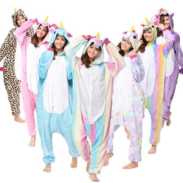 Animale all'ingrosso Unicorn Panda Bear Koala Pikachu Adulto Unisex Cosplay Costume Pigiama Indumenti Da Notte Per Uomo Donna T2I133