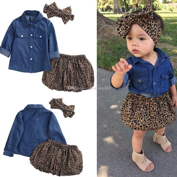 2017 new Children outfits girls cotton Bow headband+Long sleeves Denim shirt+Leopard skirt 3pcs/set baby suits C2244