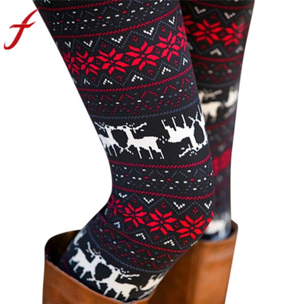 2018 Feitong рождественские леггинсы для женщин Леди повседневная эластичность тощий печатных эластичные брюки леггинсы брюки calzas mujer
