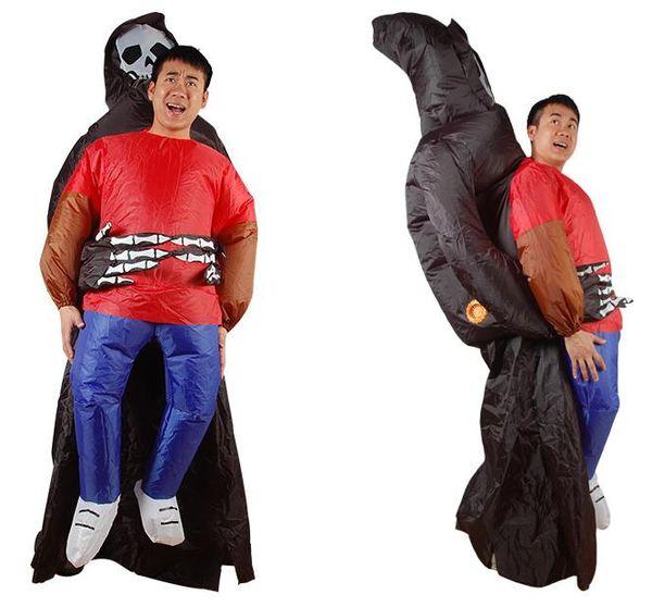 Fantasma me levar vestido inflável múmia inflável terno esqueleto trajes infláveis do dia das bruxas para adulto para usar