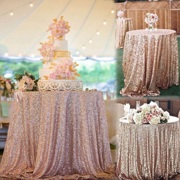 Trasporto libero caldo economici oro rosa Bling Bling paillettes decorazioni di nozze tovaglia glitter sera damigella d'onore vestito da partito di promenade tessuto