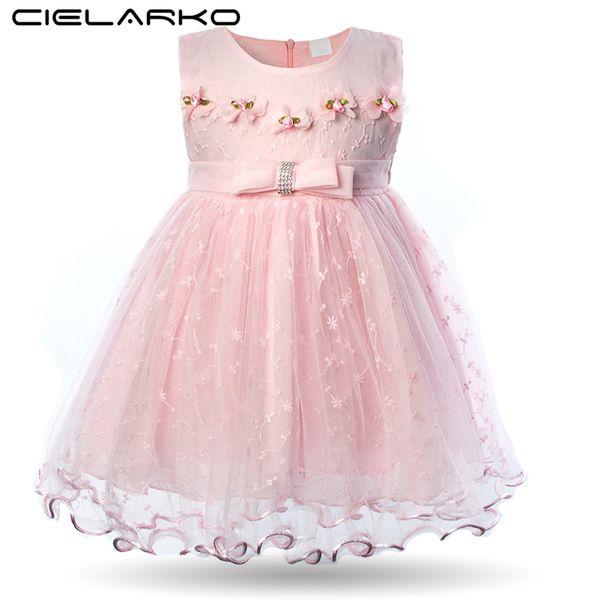 Cielarko Baby Girl Dress Flower Birthday Party Infant Dresses Pink Newborn Christening Ball Gowns Baptism Cute Cotton Girl Frock