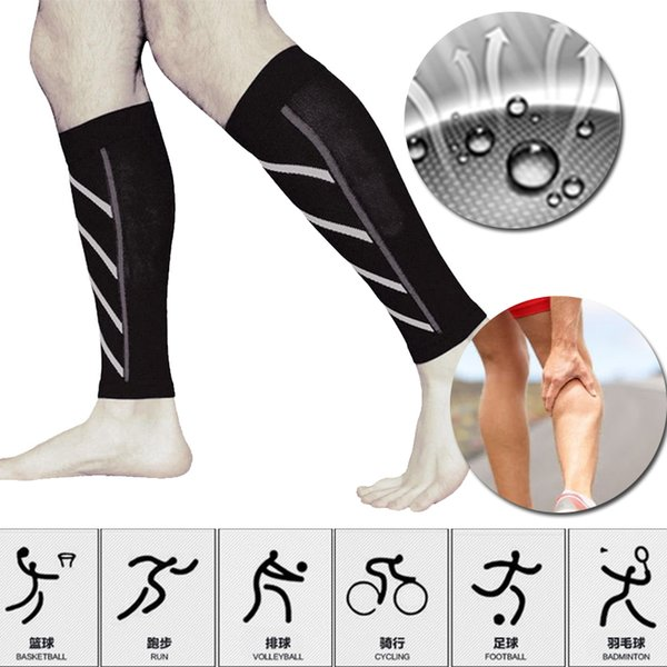 Paire appui veau Compression Manches Jambes Running Chaussettes de sport Exercice en plein air Brace Wrap Fitness Sleeve Support Vélo Running