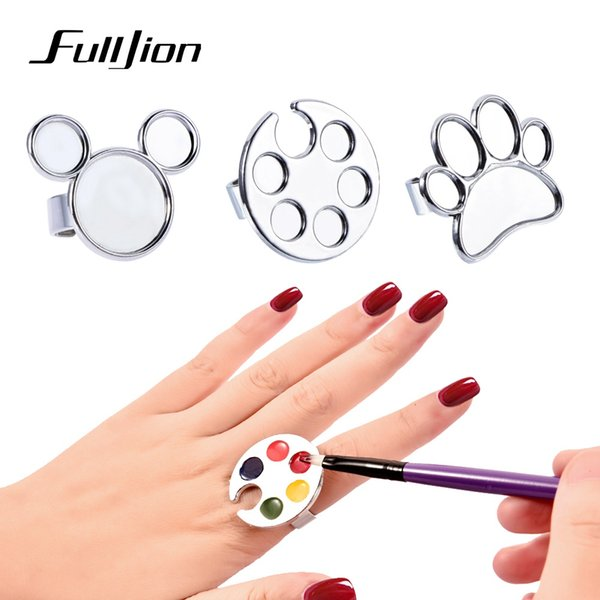 Fulljion Color Mixing Nail Palette Metal Mini Finger Ring Nail Art Paint Plate Dish Gel Painting Color Pigment Holder Board