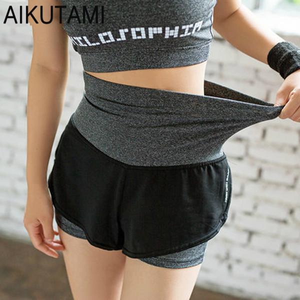 AIKUTAMI Double Layer Woman Sport Shorts High Waist Elastic Quick Dry Running Gym Sport Yoga Shorts Workout Training Sportwear