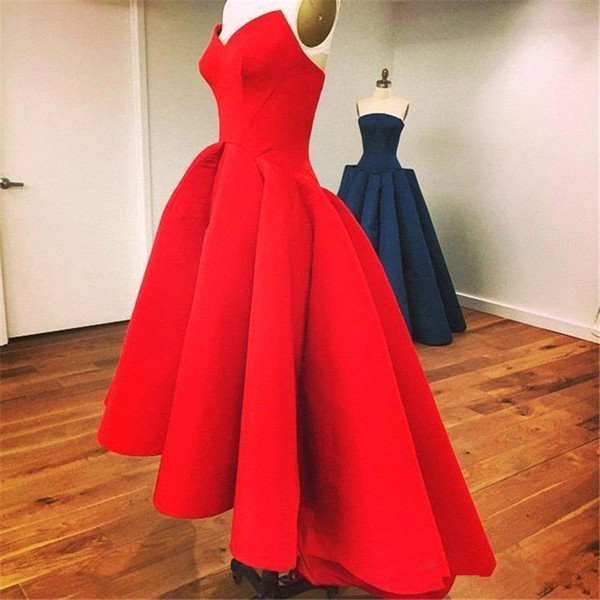 2018 Vintage Hi Low Prom Dresses with Sweetheart Neck Tea Length Puffy Skirt Unique Red Evening Gowns Arabic Vestidos Para Festa Cheap Dress