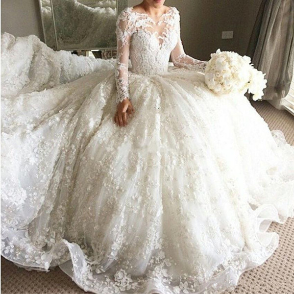 Luxury Lace Ball Gown Wedding Dresses 2018 Beaded Long Sleeves 3D Floral Appliques Wedding Gowns Best Selling Plus Size Wedding Dress
