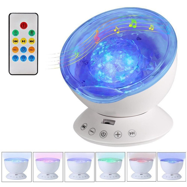 Umlight1688 7 cores led night light céu estrelado controle remoto projetor de ondas do oceano com mini música novidade baby lamp night lamp for kids