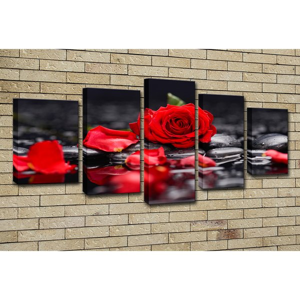Canvas Paintings Home Decor Living Room Wall Art 5 Pieces Red Rose Flowers Pictures Modular Prints Stone Petal Poster