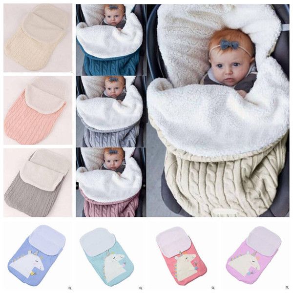 best selling Baby Sleeping Bags INS Cotton Knitted Swaddling Newborn Blankets Stroller Cart Swaddle Toddler Winter Wraps Nursery Bedding Sleep Sack YL595