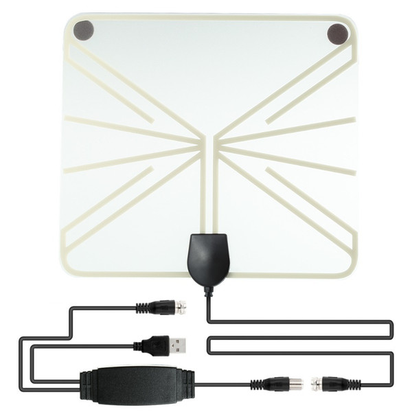 Amplified HDTV Antenna 50 Miles Range Digital Indoor TV 1080P HD Antenna Signal Amplifier Booster Transparant Style