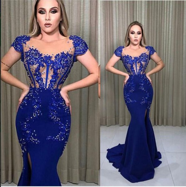 Evening Dress Long Dress Short Sleeve Applique Crystal Side Split Spandex Mermaid Beautiful Fashion Suitable for all shapes 0062