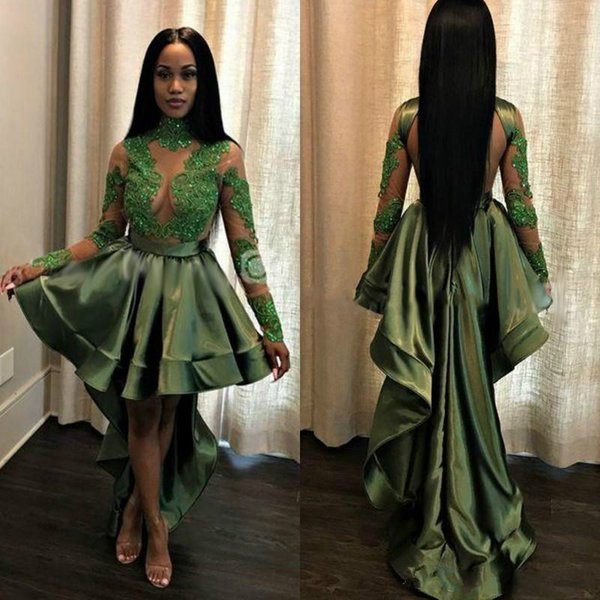2018 Green Cocktail Dresses High Low Long Train Lace Illusion Applique Beaded Sexy Prom Dress Party Wear High Neck Evening Gowns Homcoming