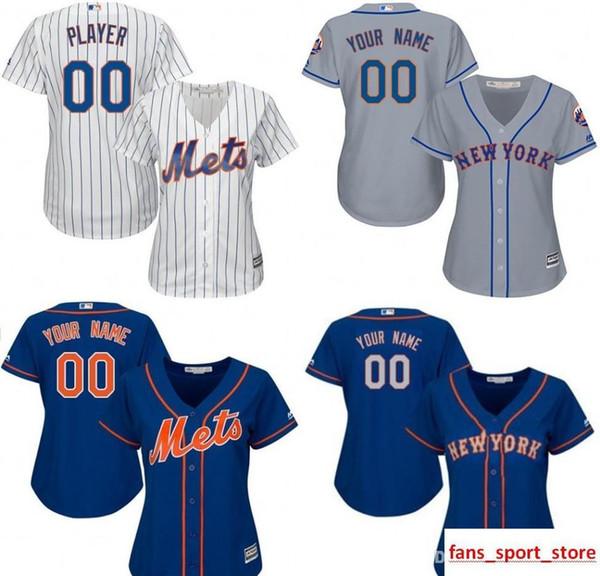 FRAUEN Nw Yk Mets Custom Baseball Jersey Personalisierte jeden Namen und Nummer genäht